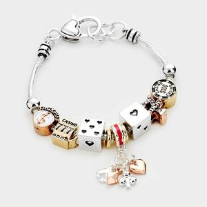 Gold Multi Charm Dice Card Beaded Jewelry Bracelet